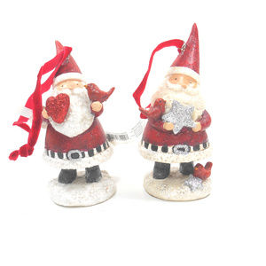 Red and White Santa Figurine Ornaments Set of 2